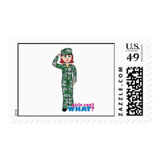 Red Haired Military Girl in Camo Postage Stamps