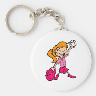red haired pink baseball girl keychain