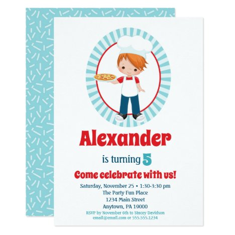 Red Haired Pizza Party Boy - Pizza Birthday Invitation