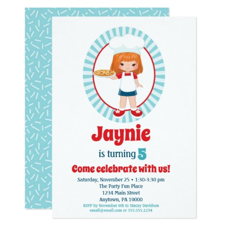 Red Haired Pizza Party Girl - Pizza Birthday Invitation