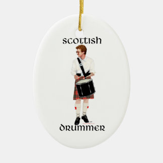 Red Haired Scottish Drummer Double-Sided Oval Ceramic Christmas Ornament