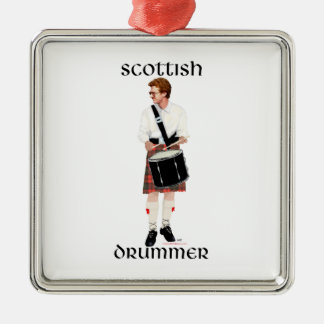 Red Haired Scottish Drummer Square Metal Christmas Ornament