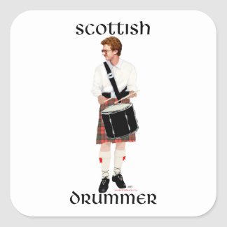 Red Haired Scottish Drummer Square Sticker