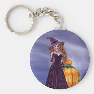 Red Haired Witch Basic Round Button Keychain