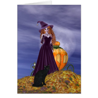 Red Haired Witch Card
