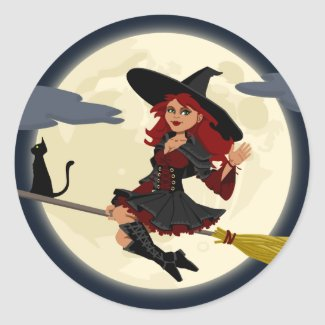 Red Haired Witch Flying Classic Round Sticker