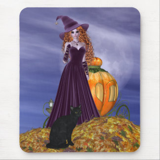 Red Haired Witch Mouse Pads