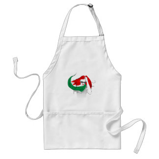 Red haired woman adult apron