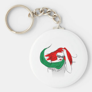 Red haired woman keychain