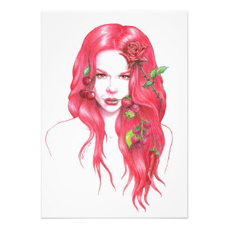 Red haired woman portrait Photo print