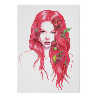 Red haired woman portrait Poster print