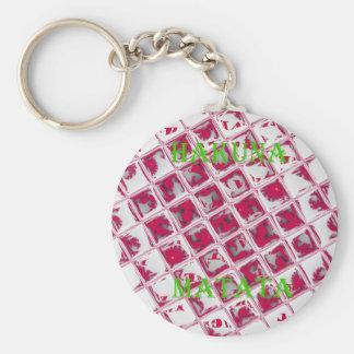Red Hakuna Matata Style Basic Round Button Keychain