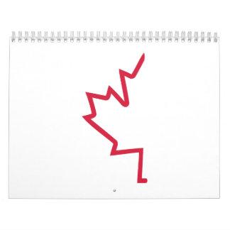 Red half maple leaf calendar