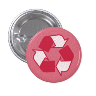 Red Half tone Recycle logo 1 Inch Round Button