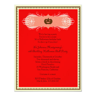 Red Halloween Ball Costume Party Invites
