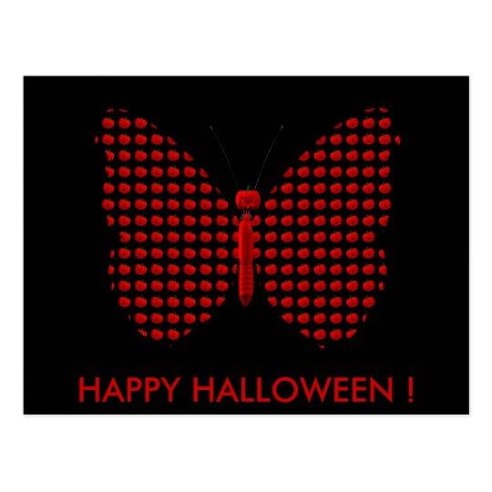 Red Halloween Butterfly Postcard