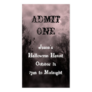 Red Halloween Sky Event Ticket Template Double-Sided Standard Business Cards (Pack Of 100)