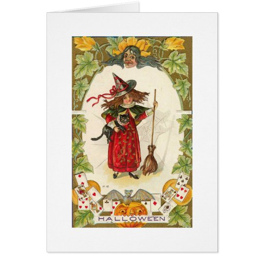 Red Halloween Witch Card