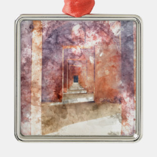 Red Hallway at the Taj Mahal Metal Ornament