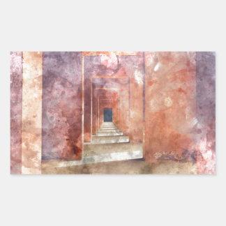 Red Hallway at the Taj Mahal Rectangular Sticker
