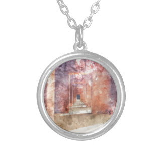 Red Hallway at the Taj Mahal Silver Plated Necklace
