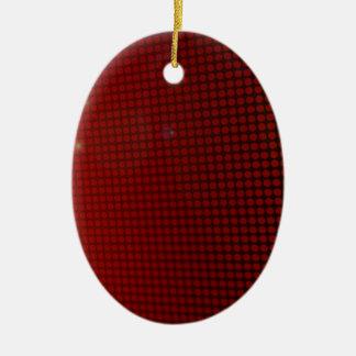red halo adorno navideño ovalado de cerámica