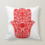 Red Hamsa-Hand of Miriam-Hand of Fatima.png Pillows