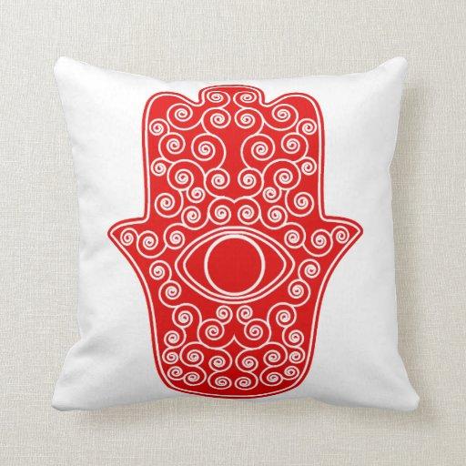 Red Hamsa-Hand of Miriam-Hand of Fatima.png Pillows