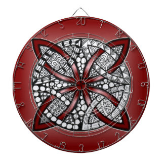 Red Hand Drawn Celtic Knot Dartboard