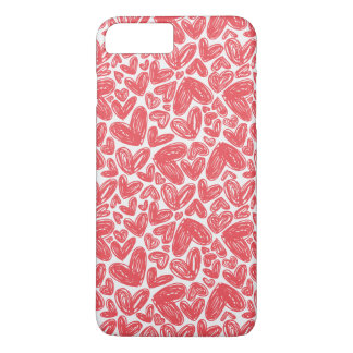 Red hand drawn hearts pattern iPhone 8 plus/7 plus case