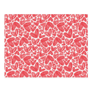 Red hand drawn hearts pattern postcard