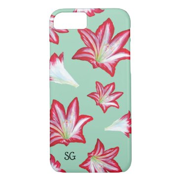 Red Hand Painted Lilies Monogram iPhone 8/7 Case