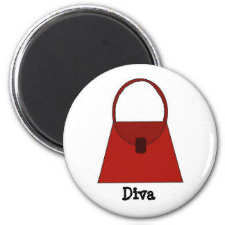 Red Handbag - Diva 2 Inch Round Magnet