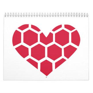 Red Handball heart Wall Calendars