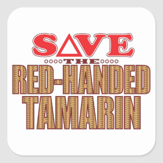 Red-Handed Tamarin Save Square Sticker