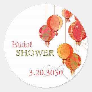 Red Hanging Lantern Chic Bridal Shower Sticker