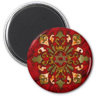 Red Hanukkah Mandala 2 Inch Round Magnet