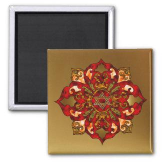 Red Hanukkah Mandala 2 Inch Square Magnet