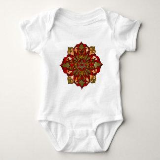 Red Hanukkah Mandala Baby Bodysuit