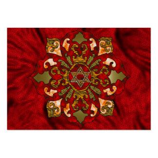 Red Hanukkah Mandala Business Card Templates