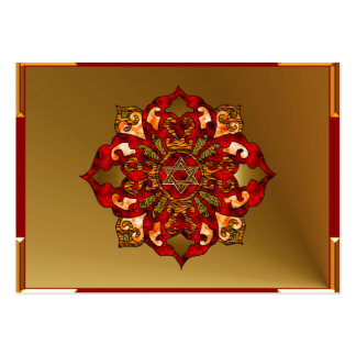 Red Hanukkah Mandala Business Card Template