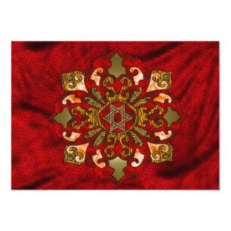 Red Hanukkah Mandala Card