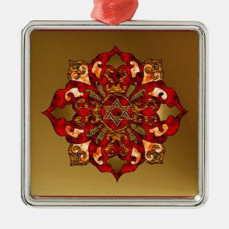 Red Hanukkah Mandala Christmas Ornament