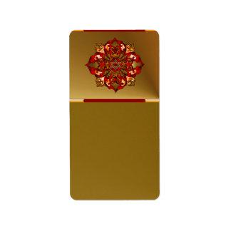 Red Hanukkah Mandala Custom Address Label