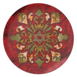 Red Hanukkah Mandala Dinner Plate