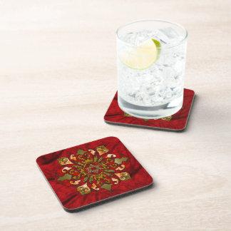 Red Hanukkah Mandala Drink Coaster