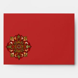Red Hanukkah Mandala Envelope