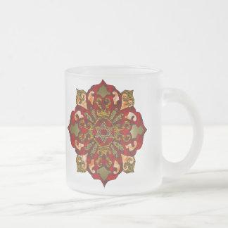 Red Hanukkah Mandala Frosted Glass Coffee Mug