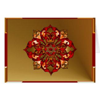 Red Hanukkah Mandala Greeting Cards