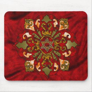 Red Hanukkah Mandala Mouse Pad